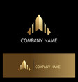 arrow up triangle gold logo vector image vector image
