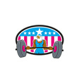 Bald Eagle Weightlifter Barbell USA Flag Oval vector image vector image