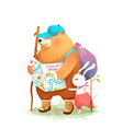 bear and hare friends camper hiking with map vector image