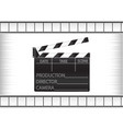 black movie clapperboard and cine-film vector image vector image