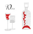 bottle with two glasses vector image