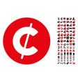 cent coin icon with 90 bonus pictograms vector image
