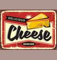cheese retro tin sign vector image vector image