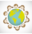 children around the world on white background vector image