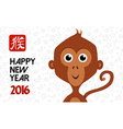 Chinese new year 2016 monkey cute poster card vector image
