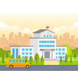 city school building with yellow bus - modern vector image vector image