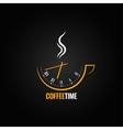 coffee cup clock time concept background vector image vector image