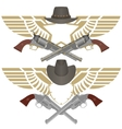 Cowboy pistols vector image vector image