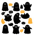 cute ghosts icons on white halloween vector image vector image