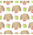 cute gog with gift seamless pattern on white vector image vector image