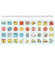e commerce shopping and delivery icons set vector image