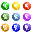 eco bulb care hand icons set vector image vector image