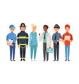 essential workers isolated frontliners group vector image vector image