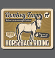 farm with donkeys and horse riding service vector image vector image