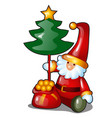 figurine form santa claus with bag gifts vector image vector image
