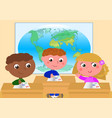 girl and boys at school in classroom vector image vector image