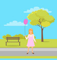 girl with balloon in hands walk in green city park vector image vector image