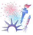 ink hand drawn 4th of july set with main symbols vector image