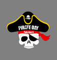 international talk like a pirate day skull pirate vector image vector image