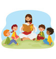 jesus reading bible to kids vector image