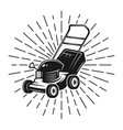 lawn mower with rays in vintage style on white vector image vector image