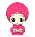 little girl reads cute muslim children vector image vector image