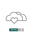 love cloud icon outline style isolated on white vector image vector image