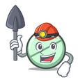 miner drug tablet mascot cartoon vector image