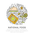 national food hand draw icon food vector image