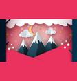 paper mountain - cartoon landscape cloud moon vector image vector image