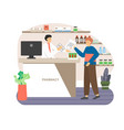 pharmacy store doctor pharmacist at counter vector image