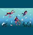 plastic pollution sea with different garbage vector image vector image