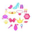 princess doll icons set cartoon style vector image