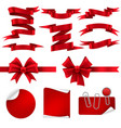 red ribbon and gift bows silk decorative shiny vector image