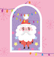 santa claus lights decoration merry christmas tag vector image vector image