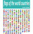 set icons flags of the world countries flat icons vector image
