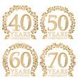 set of golden anniversary seals fortieth vector image