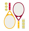 set of tennis rackets and tennis balls vector image vector image