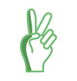 silhouette nice hand with peace and love symbol vector image