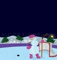 snowman is playing ice hockey banner vector image vector image