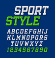 sport style retro font on dark blue background vector image vector image