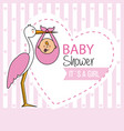stork with baby boy vector image vector image