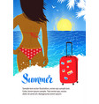 summer design with young woman near sea surf vector image vector image