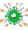 syringe with vaccine attacks covid19 -19 vector image vector image