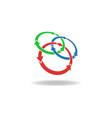 three circles arrows loop logo cycles vector image
