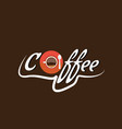 top view of a cup of coffee with the coffee vector image