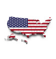 united states america map and flag 3d shape vector image