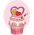 valentine day cupcake vector image vector image