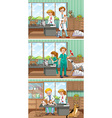 Vets working in the animal hospital vector image vector image