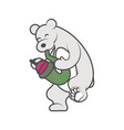 white bear is playing a musical instrument vector image vector image